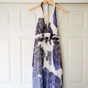 Kay Unger Silk Maxi Dress Blue + White Floral  10